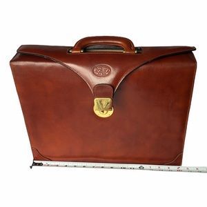 Handmade Leather Brown Briefcase From Florence